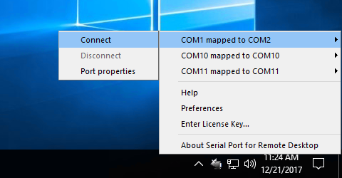 Connect local serial port into Remote Desktop session